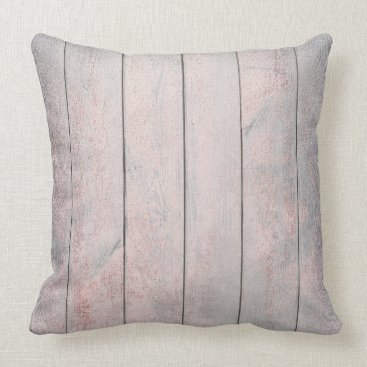 Rose Gold Gray Blush Metallic Wood Cottage Home Throw Pillow