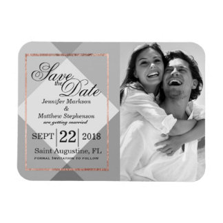 Rose Gold Gray Geo Save the Date Magnets