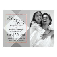 Rose Gold Gray Geo Save the Dates Card