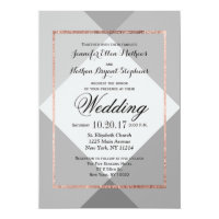 Rose Gold Gray Geo Wedding Invitations