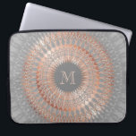 "Rose Gold Gray Mandala Monogram Laptop Sleeve<br><div class=""desc"">rose gold gray copper mandala elegant modern living culture styletrends modern monogram name personalize customizable</div>"