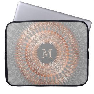 Rose Gold Gray Mandala Monogram Laptop Sleeve