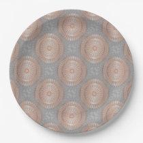 Rose Gold Gray Mandala Pattern Paper Plate