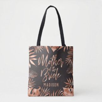 Rose Gold & Gray Tropical Palm Mother of the Bride Tote Bag