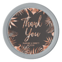 Rose Gold Gray Tropical Palm Wedding Thank You Poker Chip Set