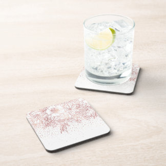 Rose gold hand drawn floral doodles and confetti beverage coaster