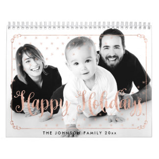 Rose Gold Happy Holidays Calendars Photo
