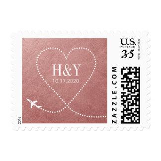 Rose Gold Heart Airplane Destination Wedding Stamp