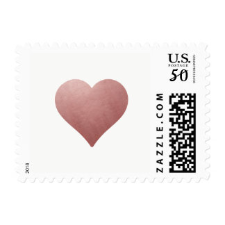 Rose Gold Heart on White | Elegant Wedding Stamp