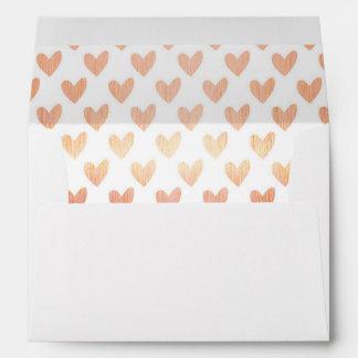 Rose Gold Hearts Pattern Decorative Lined Envelope