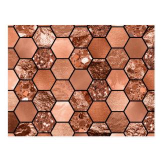 Rose gold hexaglam postcard