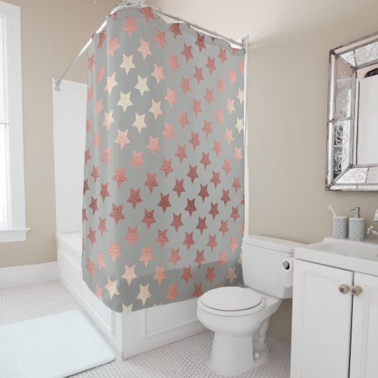 Rose Gold Hollywood Stars Glamorous Shower Curtain