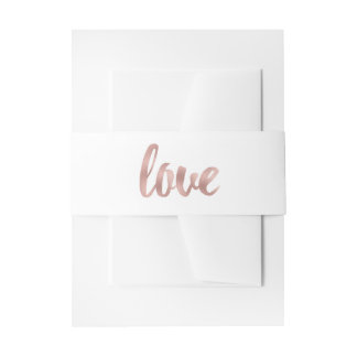 Rose gold invitation bands invitation belly band
