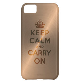 Rose Gold Keep Calm And Carry On Cover For iPhone 5C