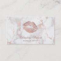rose gold kiss chic marble makeup artist business card