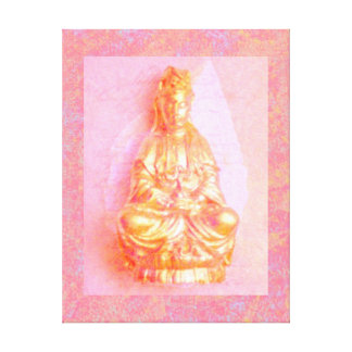 Rose-Gold Kwan Yin wrapped canvas print