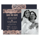 Rose Gold Lace and Navy Blue Save the Dates Card