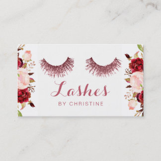 rose gold lashes and floral decor business card