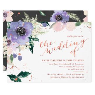 Rose Gold & Lavender Watercolor Floral Wedding Invitation