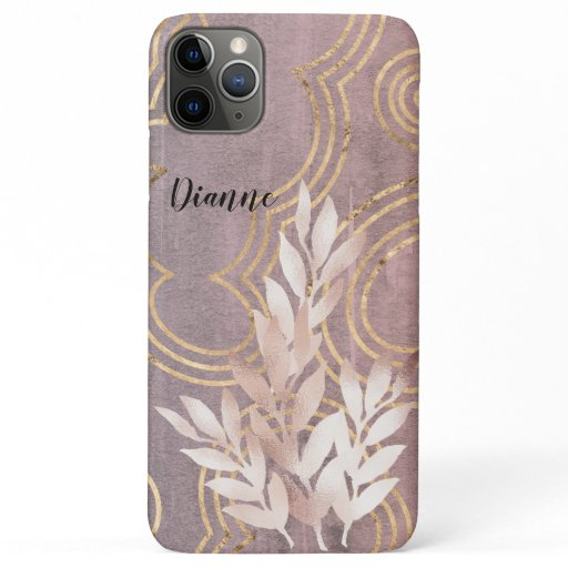Rose Gold Leaf Spray on Golden Clouds Customize It iPhone 11 Pro Max Case