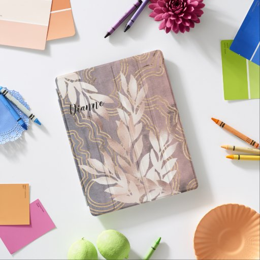 Rose Gold Leaf Spray on Golden Waves Customize It iPad Smart Cover