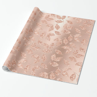 Rose Gold Leafs Blush Copper Skinny Glitter Monoch Wrapping Paper