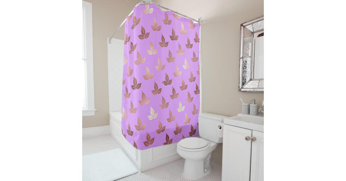 rose gold leaves leaf pattern lilac lavender shower curtain | Zazzle.com
