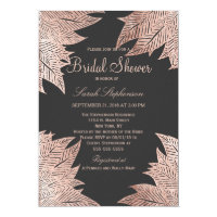 Rose Gold Leaves on Black Bridal Shower Invitation