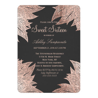 Rose Gold Leaves on Black Sweet 16 Invitations