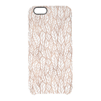 Rose Gold Leaves Transparent Pattern Clear iPhone 6/6S Case