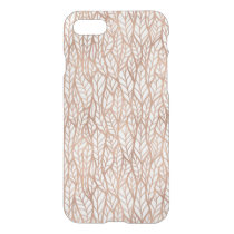 Rose Gold Leaves Transparent Pattern iPhone 7 Case
