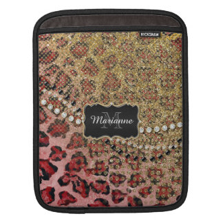 Rose Gold Leopard Animal Print Glitter Look Jewel iPad Sleeve