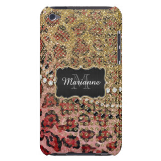 Rose Gold Leopard Animal Print Glitter Look Jewel iPod Case-Mate Case