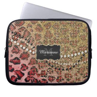 Rose Gold Leopard Animal Print Glitter Look Jewel Laptop Computer Sleeve