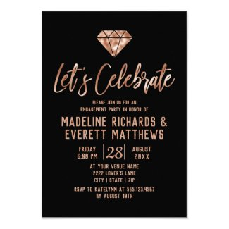 Rose Gold Let's Celebrate Engagement Party Invite