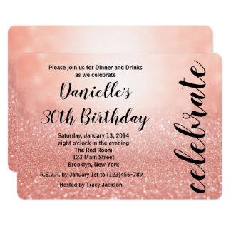 Rose Gold Lights Birthday Party Invitation
