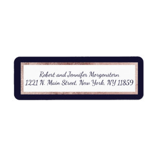 Rose Gold Lined Navy Blue and White Address Labels