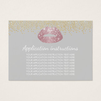 Rose Gold Lips Makeup Application Instructions Business Card