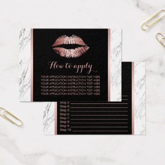 Rose Gold Lips Marble Application Instructions Business Card