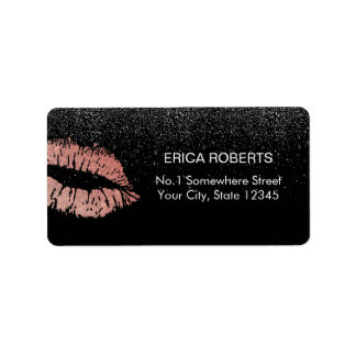 Rose Gold Lips Modern Black Glitter Beauty Salon Label