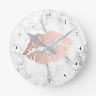 rose gold lips on marble round clock