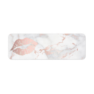 rose gold lips on pink marble label