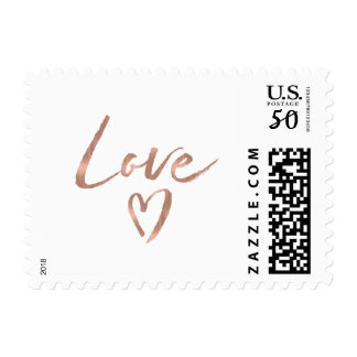 Rose Gold Love Heart Postage