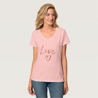 Rose Gold Love Heart T-Shirt