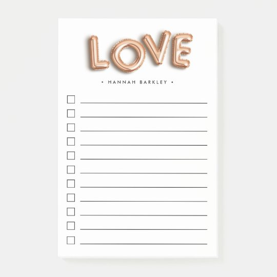 rose gold love personalized to do list post it notes zazzle com