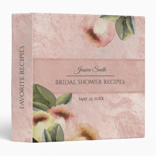 rose gold mable tulips bridal shower recipe 3 ring binder