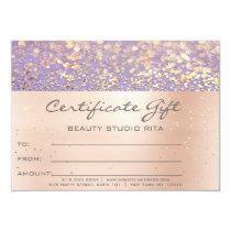 Rose Gold  Makeup Artist Certificate Gift Lavender Card