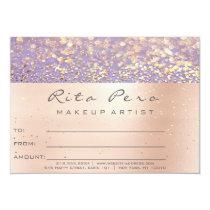 Rose Gold  Makeup Artist Certificate Gift Purple Card