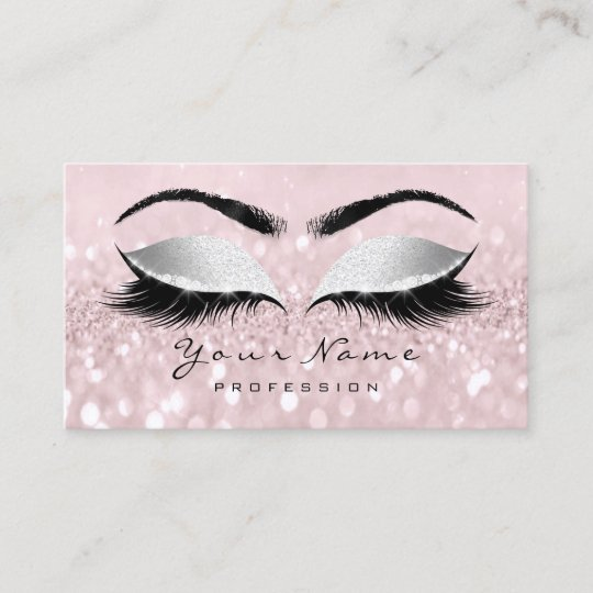 7357d2ec2b9 Rose Gold Makeup Artist Lash Pink Eyes Gray Appointment Card ...