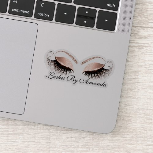 Rose Gold Makeup Artist Lashes Extension Studio Sticker